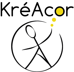 Logo KréAcor noir et or sur fond transparent