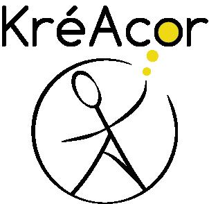 Logo KréAcor noir et or sur fond transparent