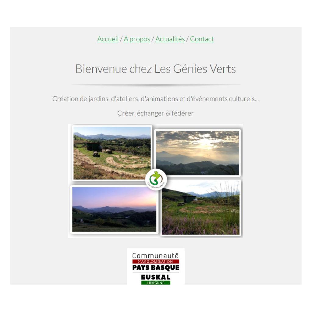 Apercu écran de la page d'accueil du site web les génies verts, création de KréAcor